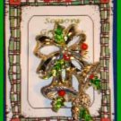 Christmas PIN #0001 VTG Signed GERRYS Bells Holly Bow Goldtone HOLIDAY