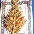 "Christmas PIN #0410 Vtg Goldtone Upward Pine Branch Tree with Rhinestones ""RARE"""