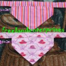 Dog Reversible Neckerchief Sleeve Pink Hats and Stripe NEW