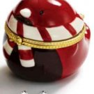 "Christmas Earrings CZ Studs in ""Robin"" Ceramic Collectible Keepsake Box ~Pierced"