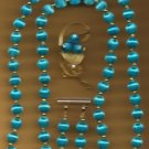 Necklace Handmade Spun Beads Set Turquoise ~Neck-Approx 31 inches+Earrgs-Brooch~