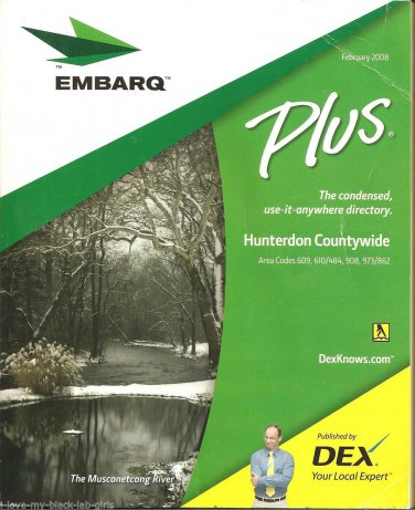 Vintage February 2008 EMBARQ Telephone Book Directory ~Hunterdon Countywide, NJ