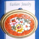 Jewelry #02 Vintage Micro Mosaic Floral Italian Pin/Brooch with Four Flowers #02