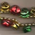 Christmas BRACELET #020 Colored Jingle Bells & Beaded Stretch Bracelet ~No Clasp
