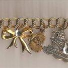 Christmas BRACELET #013 Goldtone Charm Santas-Tree-Bell-Snowman 8 inch w/Clasp