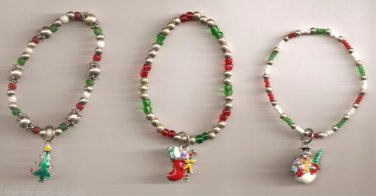 Christmas BRACELET #011 Snowman-Tree-Stock'g Beaded Stretch Charm 3 Set-No Clasp