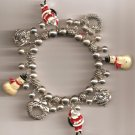 Christmas BRACELET #008 Santa-Snowman-Beaded Stretch Charm Bracelet ~ No Clasp ~