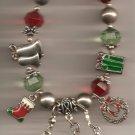 Christmas BRACELET #007 Tree, Bells & Beaded Stretch Charm Bracelet ~ No Clasp ~
