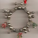 Christmas BRACELET #005 Santa, Tree & Beaded Stretch Charm Bracelet ~ No Clasp ~