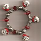 Christmas BRACELET #004 Santa & Beaded Stretch Charm Bracelet ~ No Clasp ~