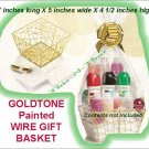 Gift Basket Goldtone Painted Metal Wire Gift Basket-NEW-Sealed-Empty-No Contents