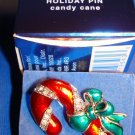 "Christmas PIN Avon Holiday Pin Candy Cane Silvertone Red-Green Enamel 1.5"" @2007"