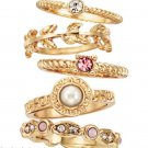 Ring Hopes & Dreams Stackable 5-Piece Ring Set -Goldtone & Pink-Size 8- NEW