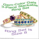 Ring Gem-Color Gala 3-Piece Ring Set ~ Size 8 ~ Beautiful Colors ~ NEW Boxed