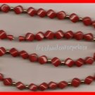 Necklace #129 Beads Red Square Beads-Goldtone Accents VGC