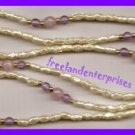 Necklace #122 Beads Pearly Rice Beads with Purple & Pink