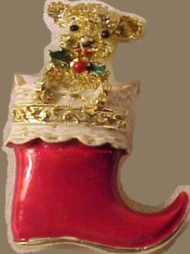 Christmas PIN #0123b Signed Gerrys Red Boot Goldtone with Poodle Like Dog