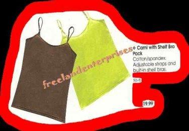 Women's Cami Tank wShelf Bra 2 Pack Lime Green & Brwn Sm