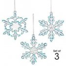 Christmas Ornament Sparkling Glass Snowflake ~Set 3 ~Size Approx 2 1/2 -3 inches