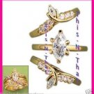 Ring CZ Marquise Ring Set of Three all Size 8 GOLDTONE