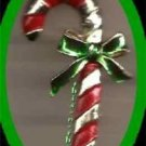 Christmas PIN #0219b Gerrys Vintage Candy Cane Red Enamel & Goldtone w/Green Bow