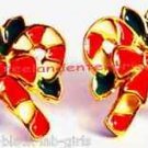 Christmas Earrings Double Candy Cane Pierced w/Bow Avon-Surgical Steel Posts NIB