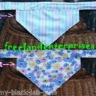 Dog Reversible Neckerchief Sleeve Blue Flowers and Pink Stripes