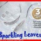 Necklace, Bracelet & Earring Sparkling Leaves Gift Set SILVERTONE NEW Boxed