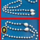 Necklace, Bracelet Set White Beads with Goldtone thru each Bead