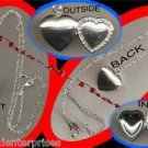Necklace Locket Heart Shape Silvertone with Rhinestone Accent