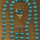 Necklace, Earring & Pin Handmade Spun Beads Set Turquoise ~Neck-Approx 31 inches