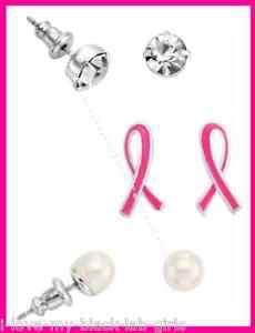 Breast Cancer Crusade 3 Piece Earring Set Pierced NEW Boxed (2015)