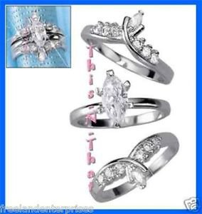 Ring CZ Marquise Set of Three Rings ~Silvertone~ Size 7 (Jacket Set)