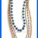 Necklace Sparkling Metallic Multi Strand Neckllace Goldtone Blue-Green New Boxed