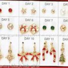 Christmas Earrings Merry & Jolly Days of Christmas Earring Set 12 Days/Pair Boxd