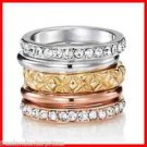 Ring Triple Threat 5-Piece Ring Set ~Silvertone-Goldtone-Rose~Size 8~ NEW Boxed
