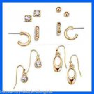 Earring Geometrics 6 Pairs Earring Set ~ Goldtone Pierced Earrings ~ NEW Boxed ~
