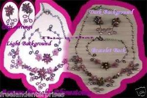 Necklace Bracelet & Earring AURORA BOREALIS Rhinestones Gift Set ~ Vintage ~ VGC