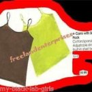 Womens Cami Tank with Shelf Bra (2 Pack) 1-Lime Green & 1-Brown Size Small