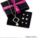 Necklace Earring Sparkling Pearlesque 4-Piece Gift Set GOLDTONE ~NEW~
