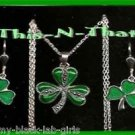 Necklace Earring Solvar Sterling Silver Marcasite & Enamel Shamrock Gift Set