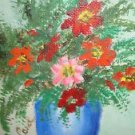 "Picture Floral Oil Painting On Winsor & Newton Of London Canvas Signed 5"" X 7"""