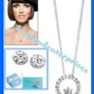 Necklace Earring CZ Circle Pendant & Dream CZ Silvertone Gift Set