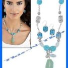 Necklace Earring Turquoise Colored Set Sea Glass Accent Gift Set ~ Silvertone ~