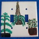 Light Switch Plate Cover - Decorative Tree & Plants -Cream/Brown/Green-No screws