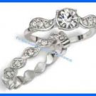 Ring Shimmer Bloom Two Piece Stackable Ring Silvertone (NEW Box 2015) Sz 8 GIFT