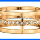 Ring Easy Essentials 3 Row Ring ~ Goldtone ~ Size 8 ~ NEW Boxed