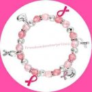 Breast Cancer Crusade Ribbon Charm Bracelet Pink & Silvertone Ribbons~Stretchie