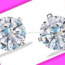Earring Sterling Silver Sleek CZ Stud Earrings ~NEW Boxed~(Circa 2016-Gift Idea)