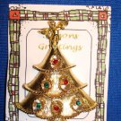 Christmas PIN #0402 Vintage Goldtone, Angel & Rhinestones Christmas Tree Tac Pin